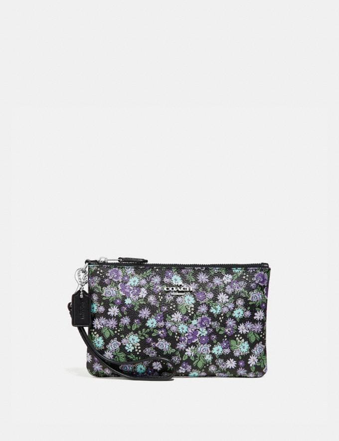 Coach Small Wristlet With Posey Cluster Print Black Posey Print/Silver Women Bags Clutches