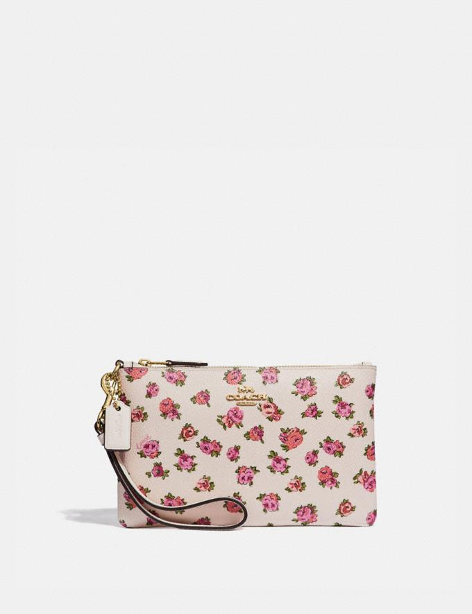 Coach Small Wristlet With Mini Vintage Rose Print Chalk Mini Vintage Rose/Gold Women Small Leather Goods Wristlets