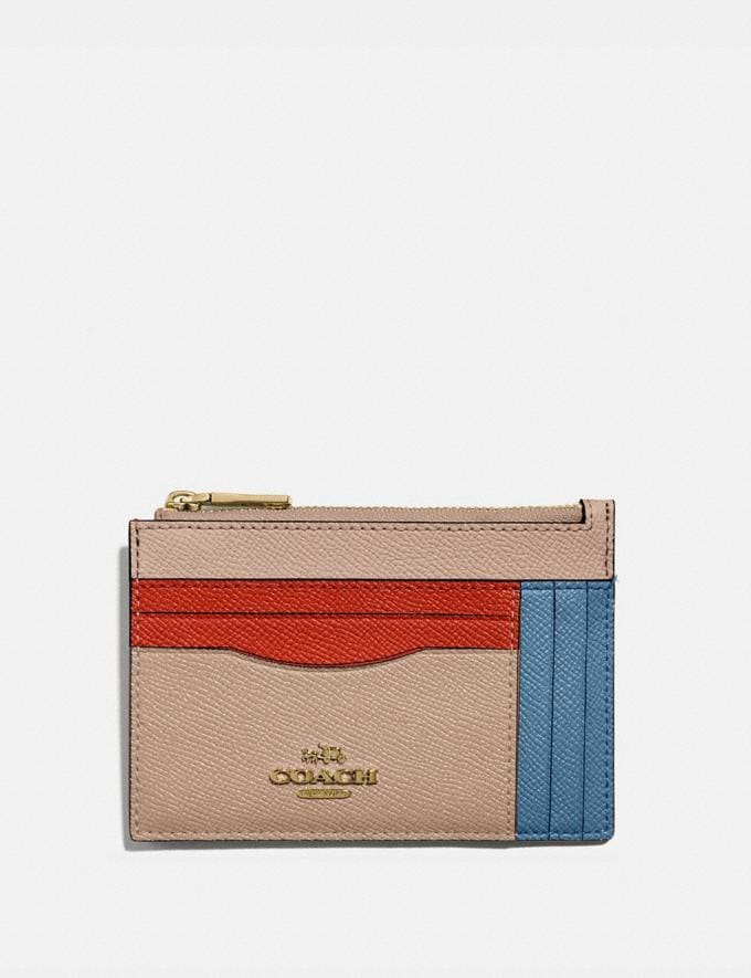 Coach Large Card Case in Colorblock Brass/Lake Multi Gifts For Her Under $100