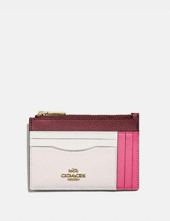 Coach Large Card Case in Colorblock Brass/Confetti Pink Multi New Women's New Arrivals Wallets & Wristlets