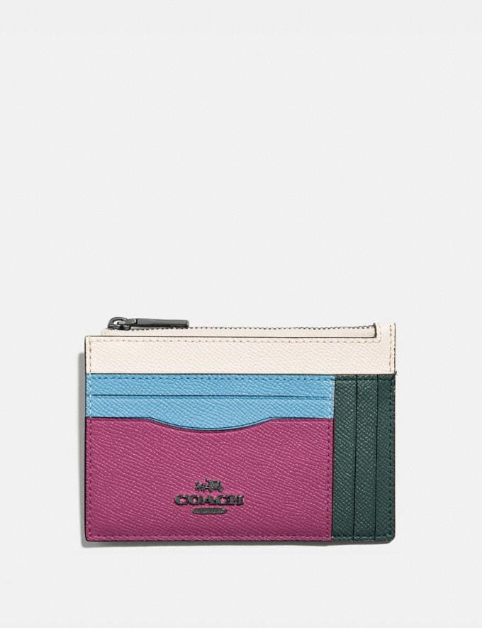 Coach Large Card Case in Colorblock Pewter/Cerise Multi New Women's New Arrivals Wallets & Wristlets