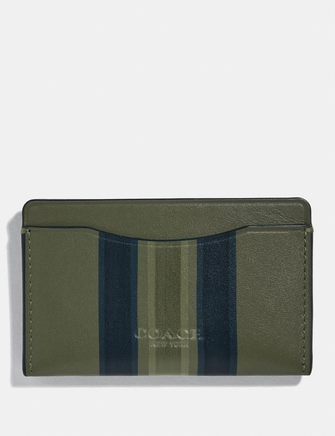 Coach Small Card Case With Painted Varsity Stripe Glade/Black/Olive Men Wallets Card Cases