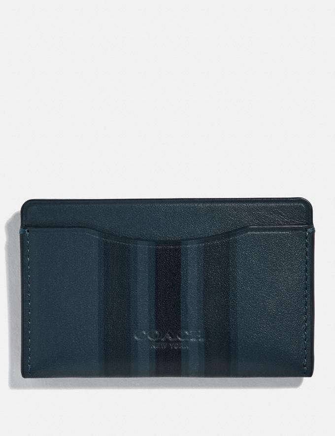 Coach Small Card Case With Painted Varsity Stripe Denim/Black/Dark Denim Men Wallets Card Cases