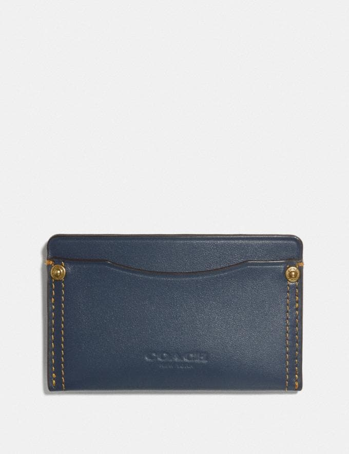Coach Small Card Case With Rivets Denim Men Wallets Card Cases