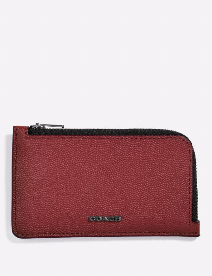 Coach L-Zip Card Case Red Currant Customization Personalize It Monogram for Him