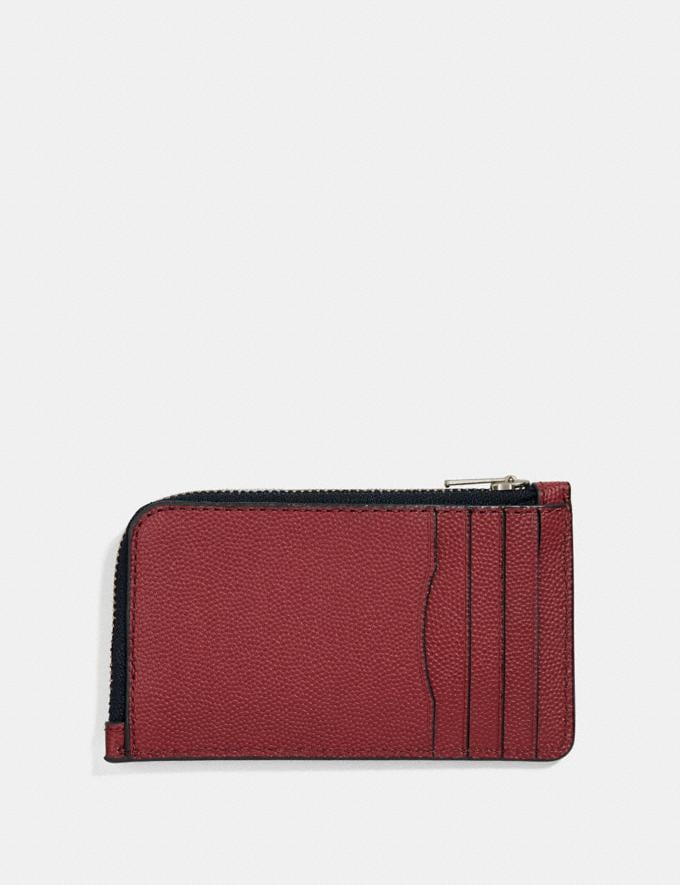 Coach L-Zip Card Case Red Currant Customization Personalize It Monogram for Him Alternate View 1