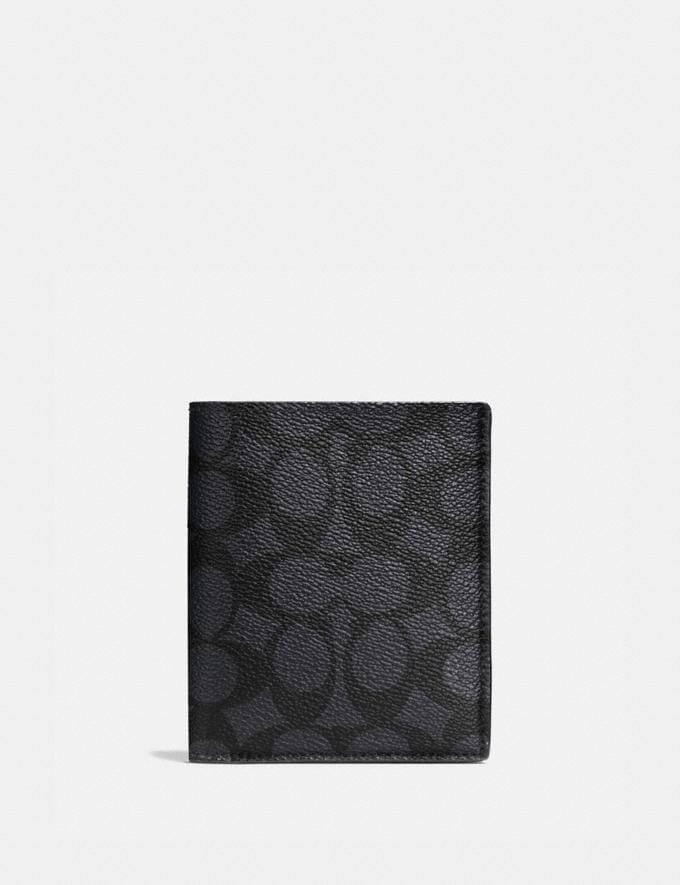 Coach Slim Wallet in Signature Canvas Charcoal Men Wallets Billfolds