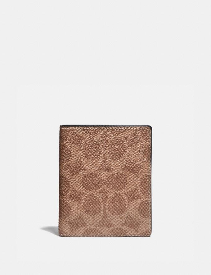 Coach Slim Wallet in Signature Canvas Khaki Men Edits Work