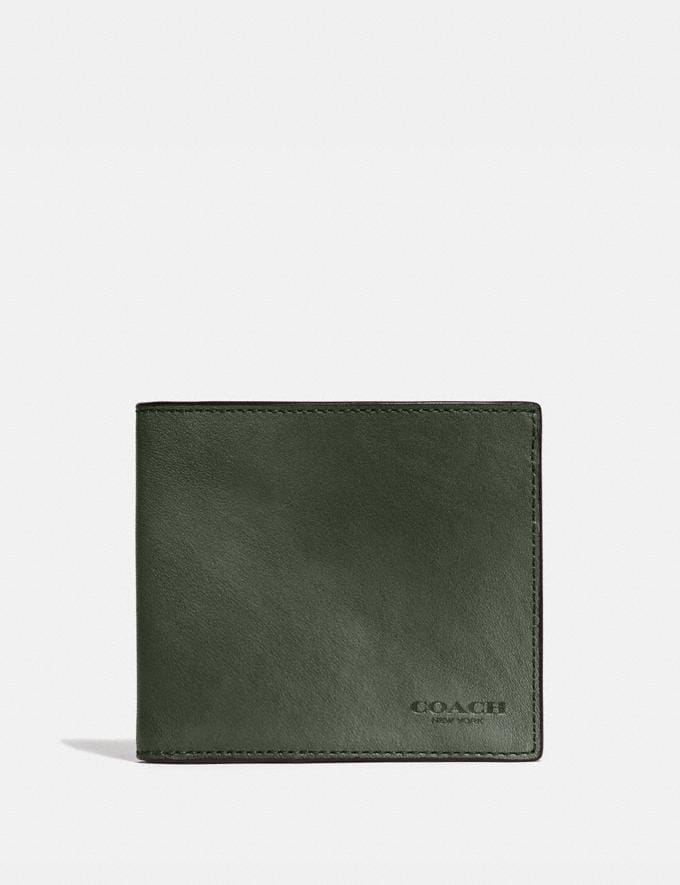 Coach Double Billfold Wallet Olive New Men's New Arrivals Wallets