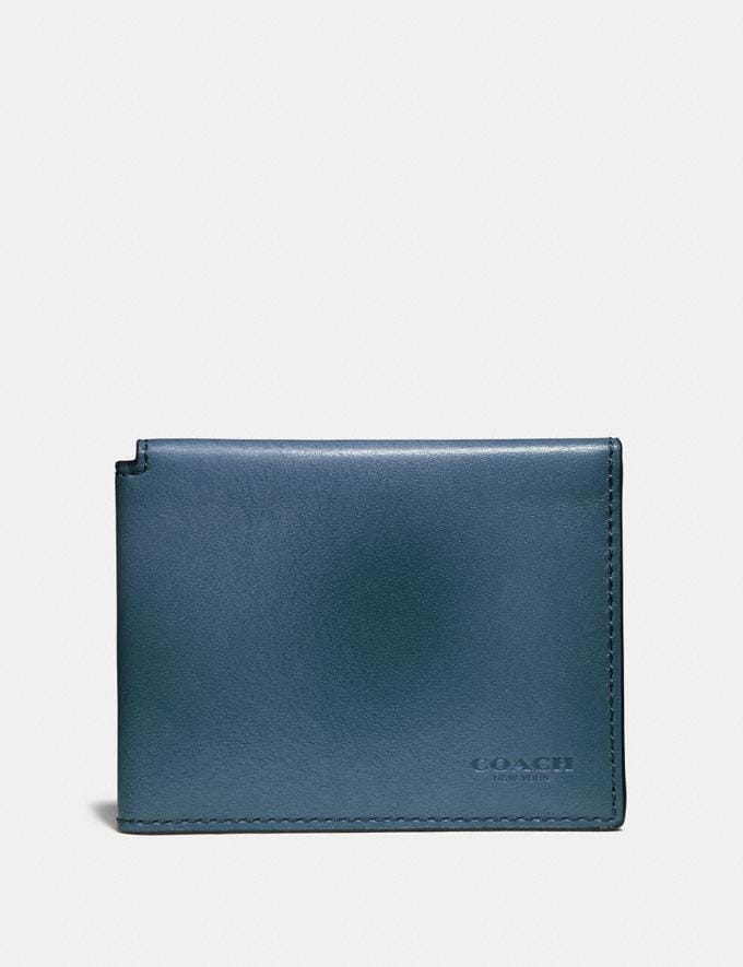 Coach Trifold Card Wallet Denim Men Wallets
