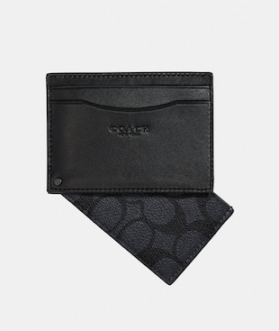 SWIVEL CARD CASE WITH SIGNATURE CANVAS DETAIL