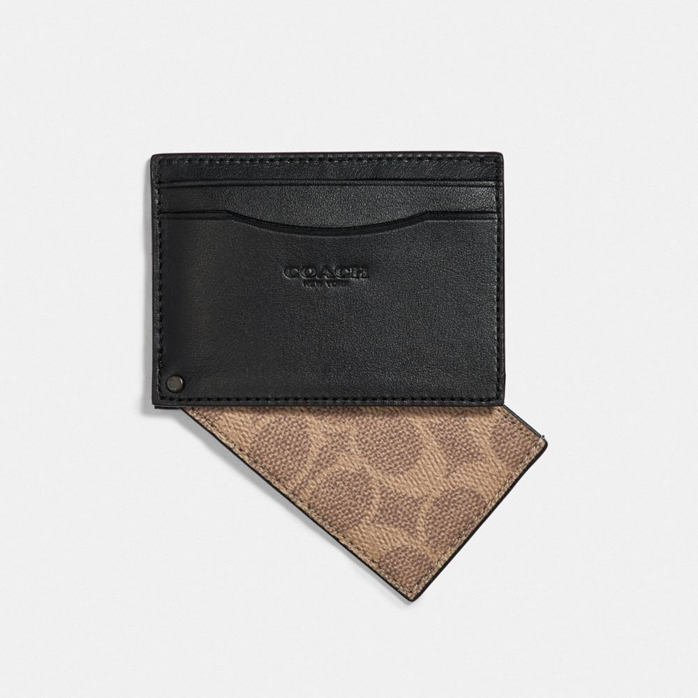 Coach Swivel Card Case With Signature Canvas Detail