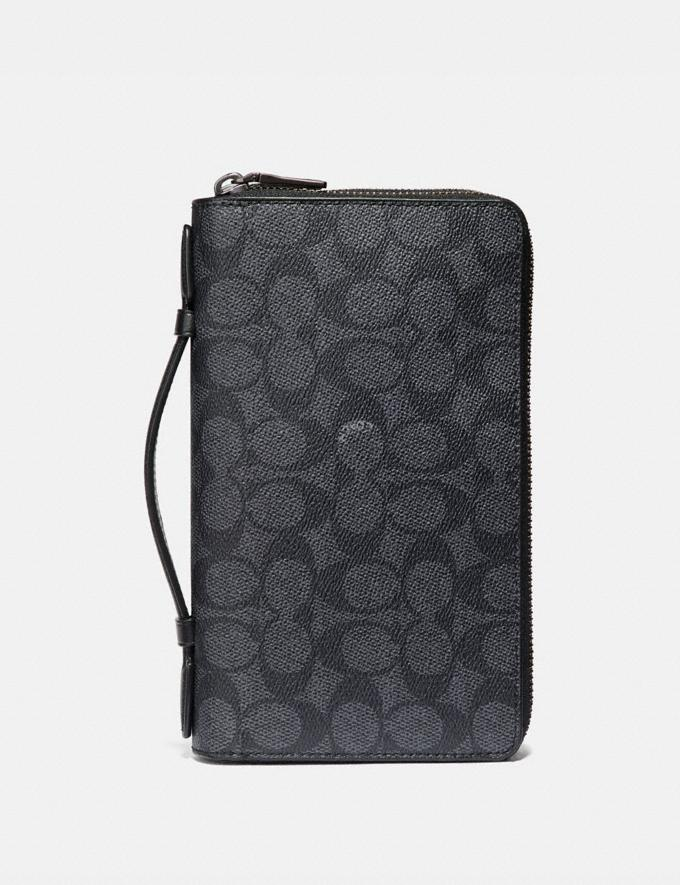 Coach Double Zip Travel Organizer in Signature Canvas Charcoal Men Edits Signature Accessories