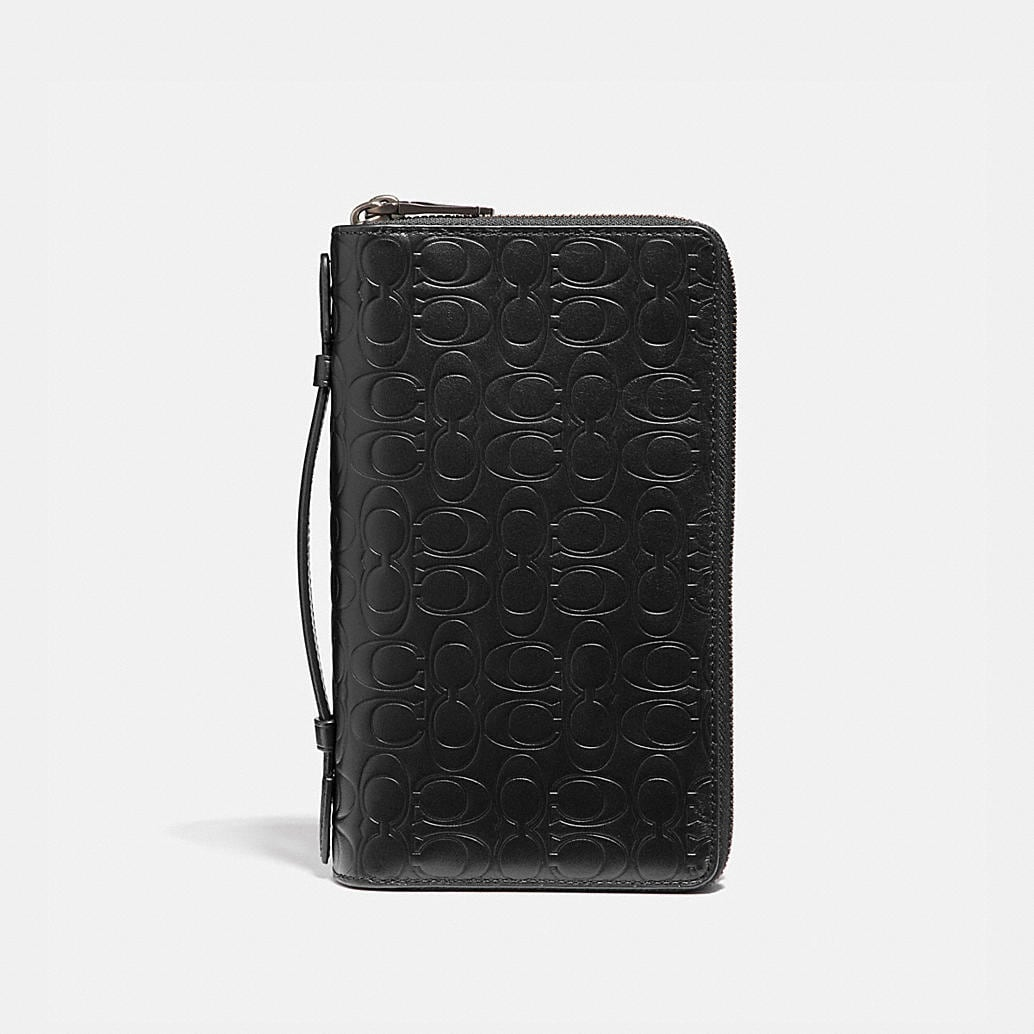 Double Zip Travel Organizer In Signature Leather by Coach