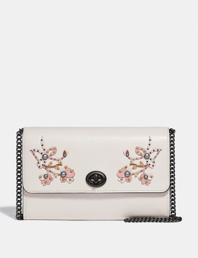 Coach Marlow Turnlock Chain Crossbody With Floral Embroidery Chalk/Pewter Women Bags Crossbody Bags