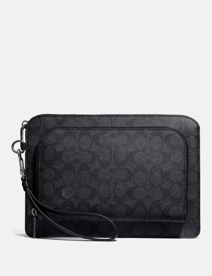 Coach Kennedy Pouch in Signature Canvas Charcoal