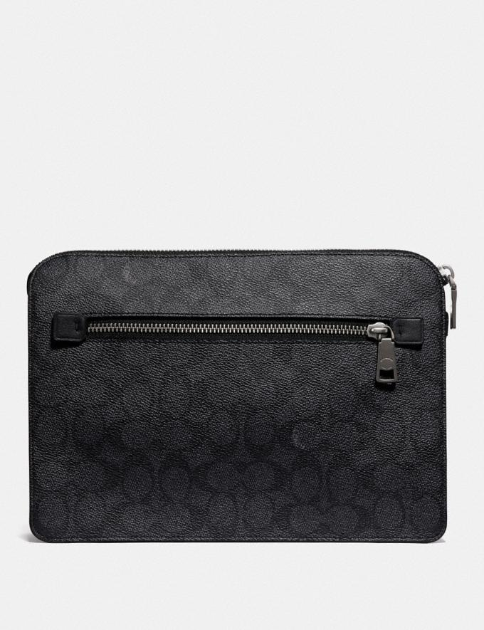 Coach Kennedy Pouch in Signature Canvas Charcoal  Alternate View 1