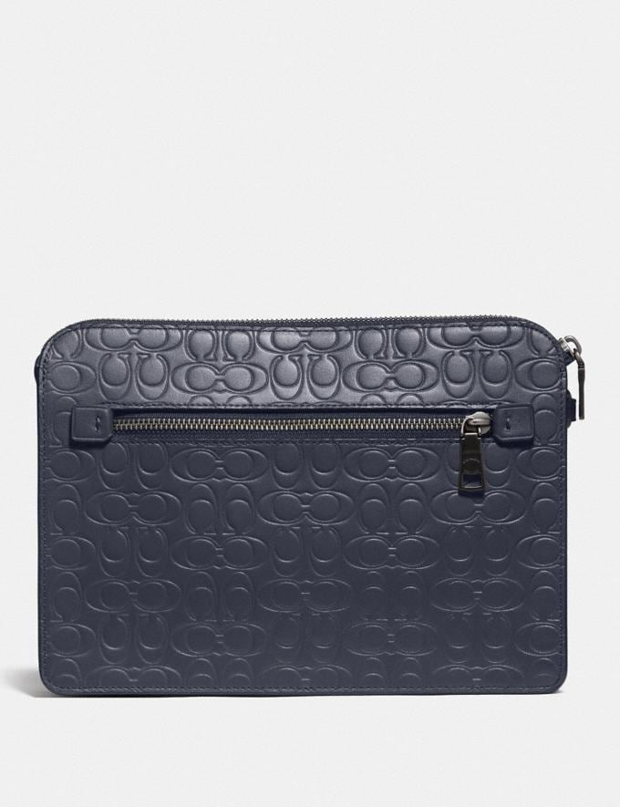 Coach Kennedy Pouch in Signature Leather Midnight Black Friday