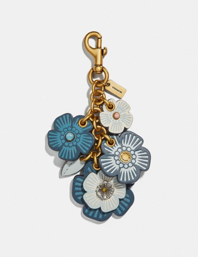 Coach Tea Rose Mix Bag Charm Dark Denim/Brass Gifts For Her Under £250