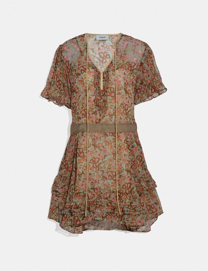 Coach Retro Floral Print Dress Brown/Pink SALE Women's Sale Ready-to-Wear