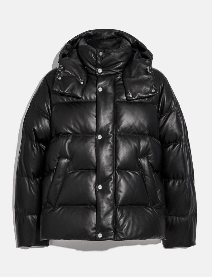 Coach Leather Puffer Jacket Black