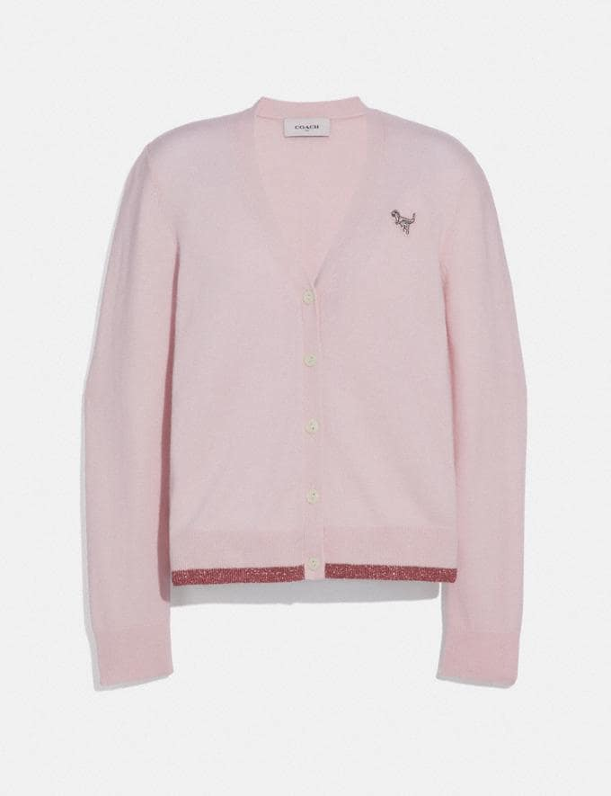 Coach Rexy Patch Cardigan Pale Pink