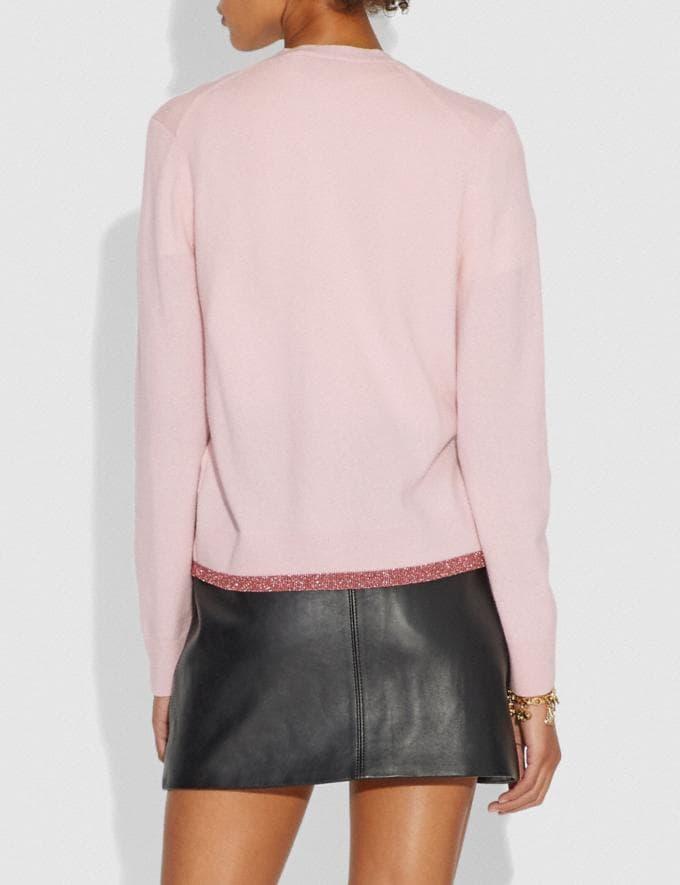 Coach Rexy Patch Cardigan Pale Pink SALE Women's Sale Ready-to-Wear Alternate View 2