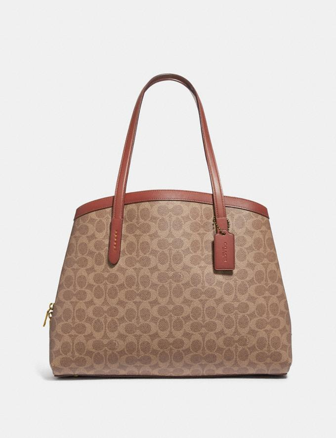 Coach Charlie Carryall 40 in Signature Canvas Copper/Tan Rust Women Handbags Satchels & Carryalls