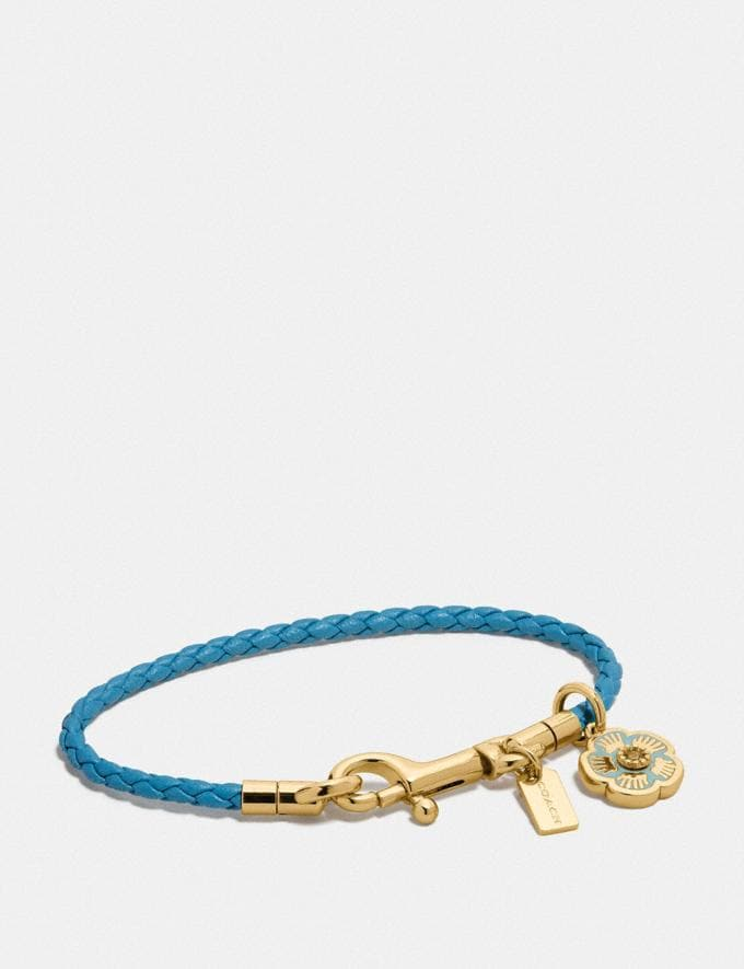 Coach Braided Charm Friendship Bracelet Turquoise/Gold New Women's New Arrivals Accessories