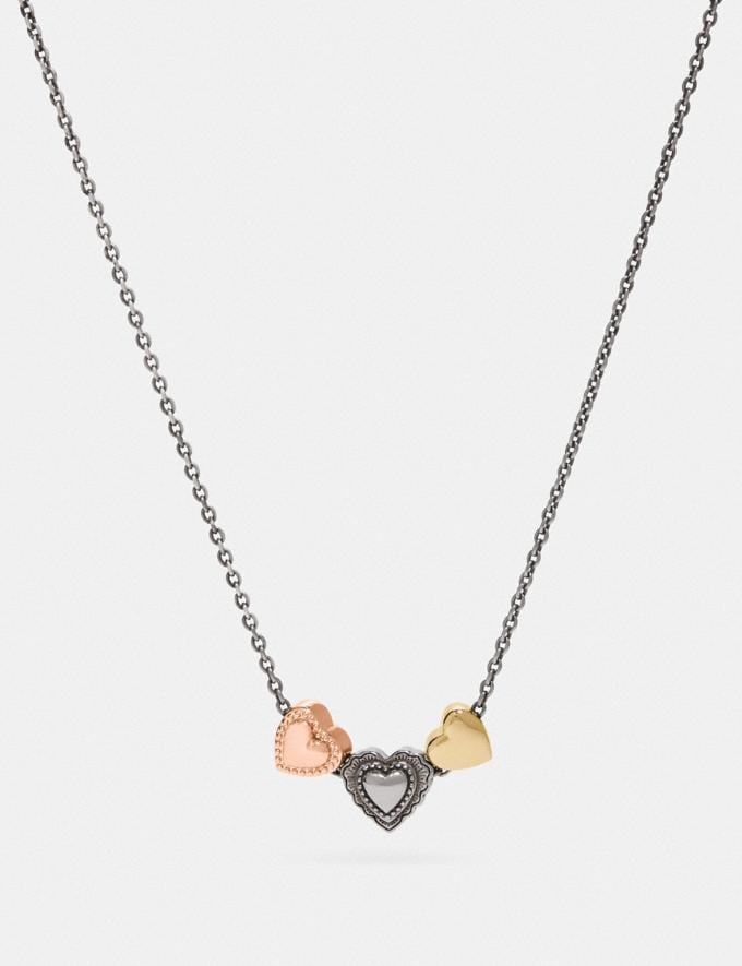 Coach Scallop Heart Slider Necklace Silver/Rose Gold Gifts For Her Valentine's Day Gifts