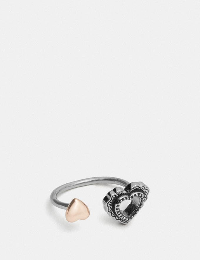 Coach Scallop Heart Open Ring Silver/Rose Gold
