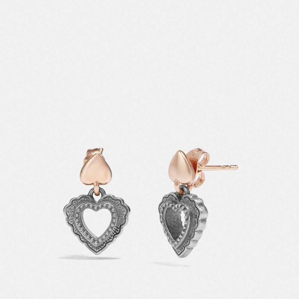 Coach Scallop Heart Drop Earrings