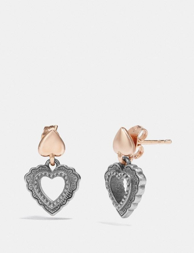 Coach Scallop Heart Drop Earrings Silver/Rose Gold Gifts For Her Valentine's Gifts