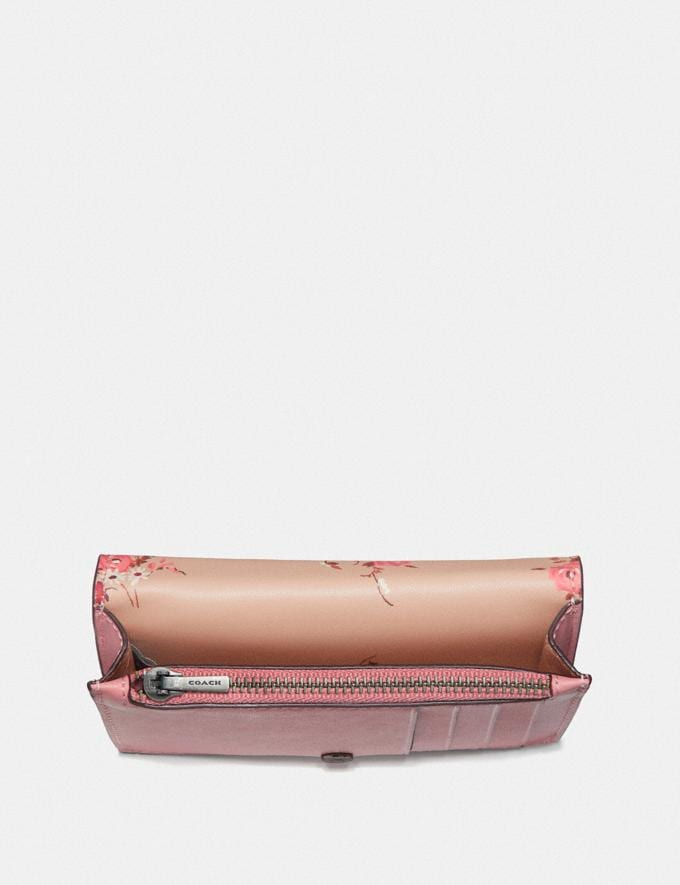Coach Foldover Card Case With Floral Print Interior Light Blush/Pewter Women Wallets & Wristlets Small Wallets Alternate View 1