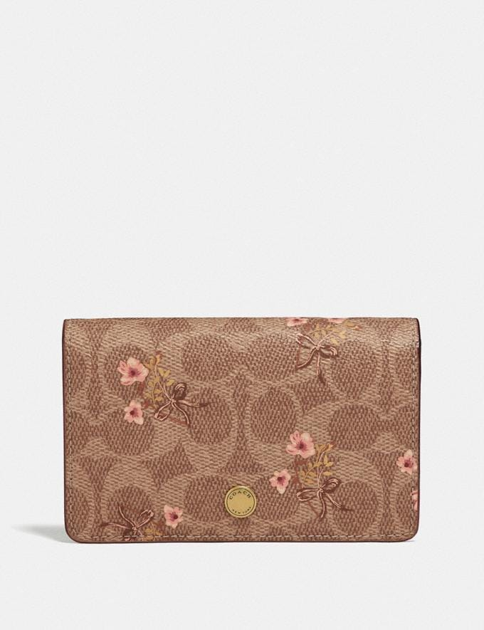 Coach Foldover Card Case in Signature Canvas With Floral Bow Print Tan/Brass Women Accessories