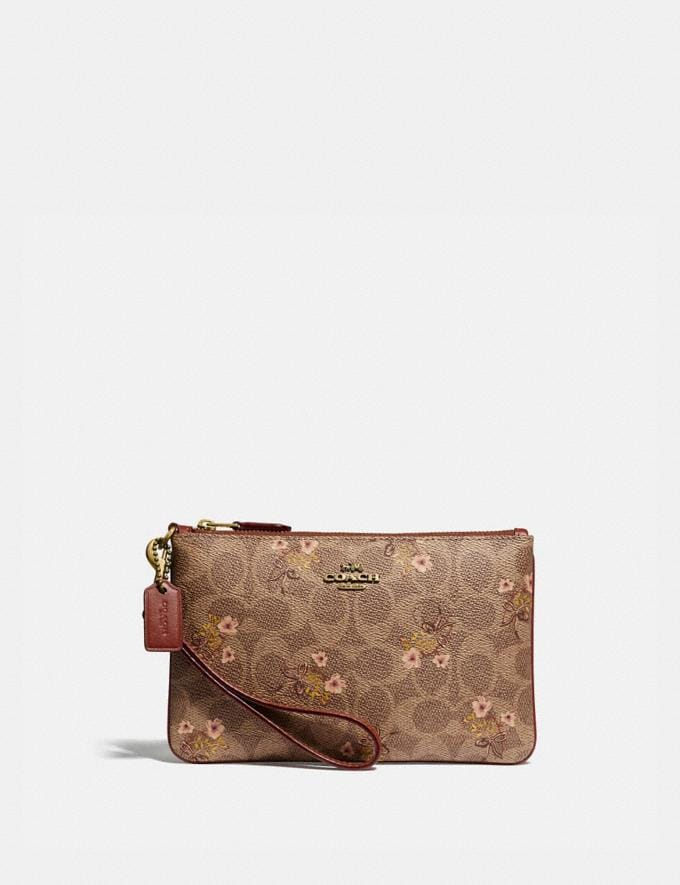 Coach Small Wristlet in Signature Canvas With Floral Bow Print Tan/Brass