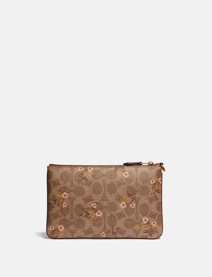 Coach Small Wristlet in Signature Canvas With Floral Bow Print Tan/Brass  Alternate View 1