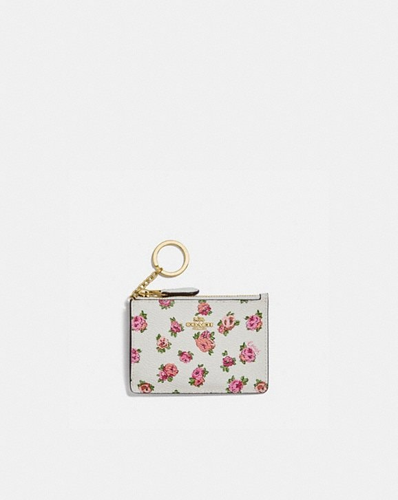 Coach MINI SKINNY ID CASE WITH MINI VINTAGE ROSE PRINT