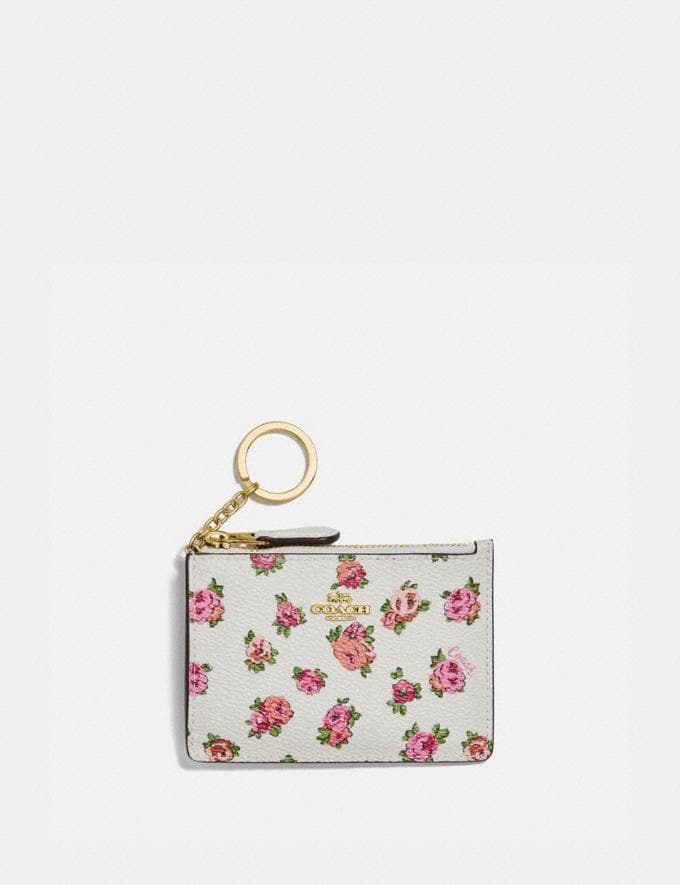 Coach Mini Skinny Id Case With Mini Vintage Rose Print Chalk Mini Vintage Rose/Gold
