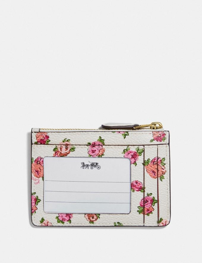 Coach Mini Skinny Id Case With Mini Vintage Rose Print Chalk Mini Vintage Rose/Gold  Alternate View 1