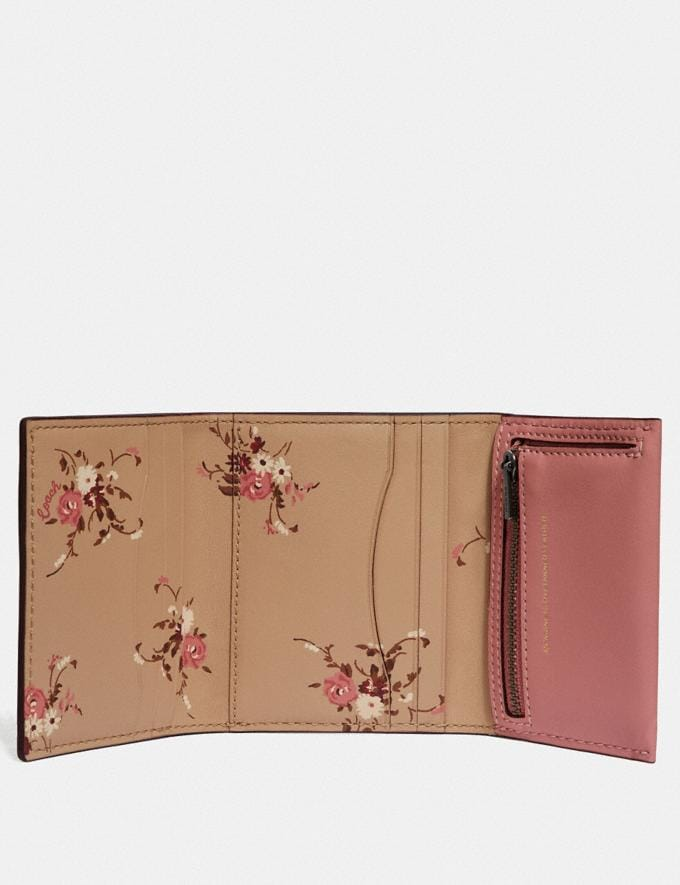 Coach Small Trifold Wallet With Floral Print Interior Light Blush/Pewter Gifts For Her Alternate View 1