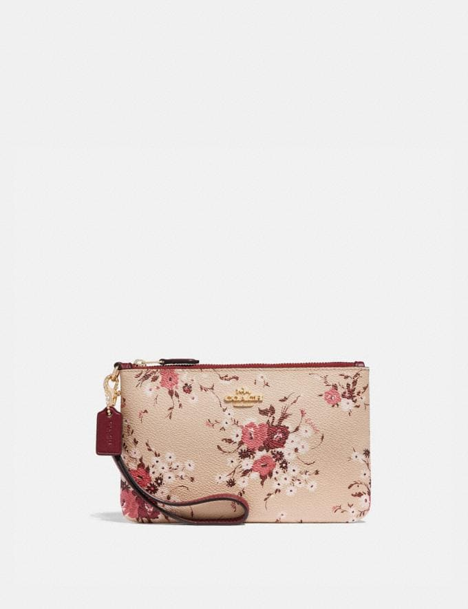 Coach Small Wristlet With Floral Bundle Print Beechwood Floral Bundle/Gold Women Wallets & Wristlets Wristlets