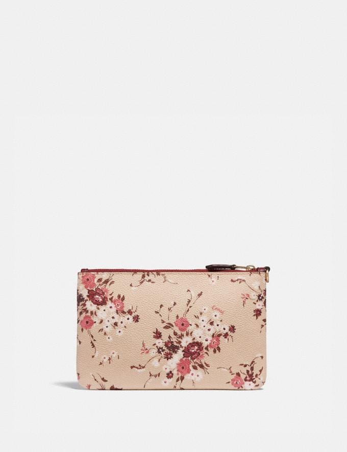 Coach Small Wristlet With Floral Bundle Print Beechwood Floral Bundle/Gold Women Small Leather Goods Wristlets Alternate View 1