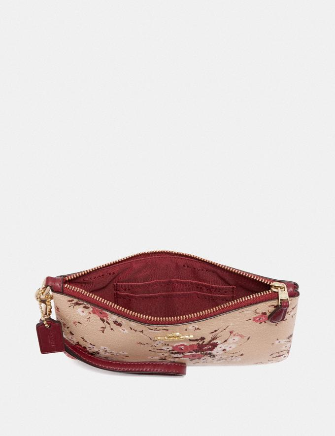 Coach Small Wristlet With Floral Bundle Print Beechwood Floral Bundle/Gold Women Wallets & Wristlets Wristlets Alternate View 2