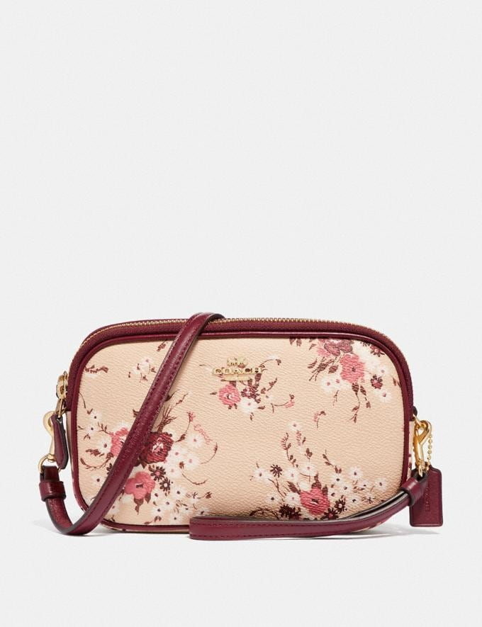 Coach Sadie Crossbody Clutch With Floral Bundle Print Gold/Beechwood Floral Bundle