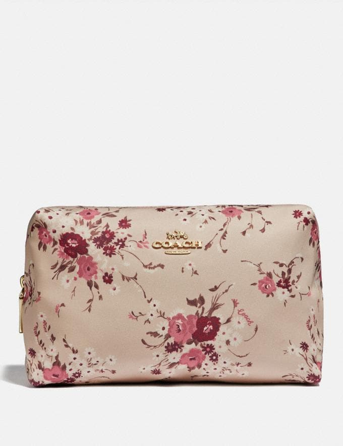 Coach Large Boxy Cosmetic Case With Floral Bundle Print Beechwood Floral Bundle/Gold Women Accessories Cosmetic Cases