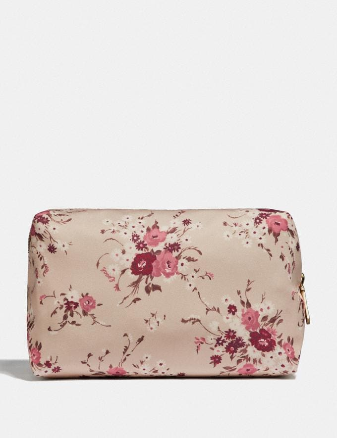 Coach Large Boxy Cosmetic Case With Floral Bundle Print Beechwood Floral Bundle/Gold Women Accessories Cosmetic Cases Alternate View 1