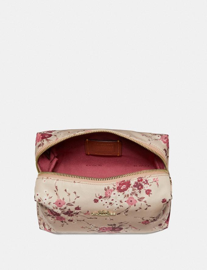 Coach Large Boxy Cosmetic Case With Floral Bundle Print Beechwood Floral Bundle/Gold Women Accessories Cosmetic Cases Alternate View 2