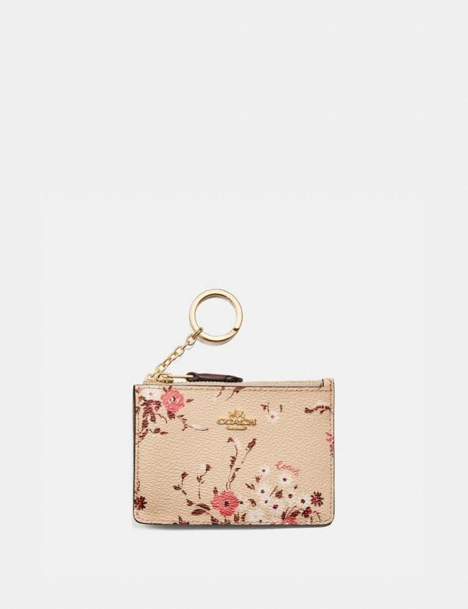 Coach Mini Skinny Id Case With Floral Bundle Print Beechwood Floral Bundle/Gold Women Small Leather Goods Card Cases