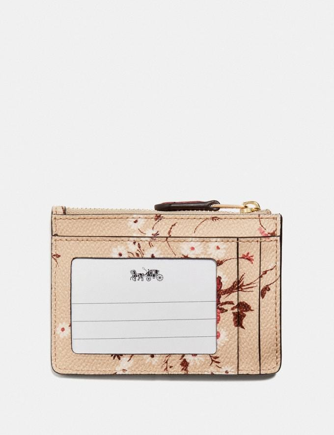 Coach Mini Skinny Id Case With Floral Bundle Print Beechwood Floral Bundle/Gold Women Small Leather Goods Card Cases Alternate View 1